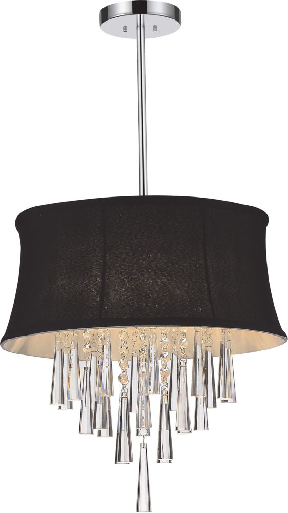 4 Light Pendent With Black Shade