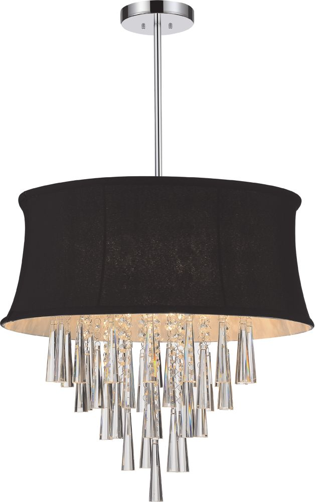 6 Light Pendent With Black Shade