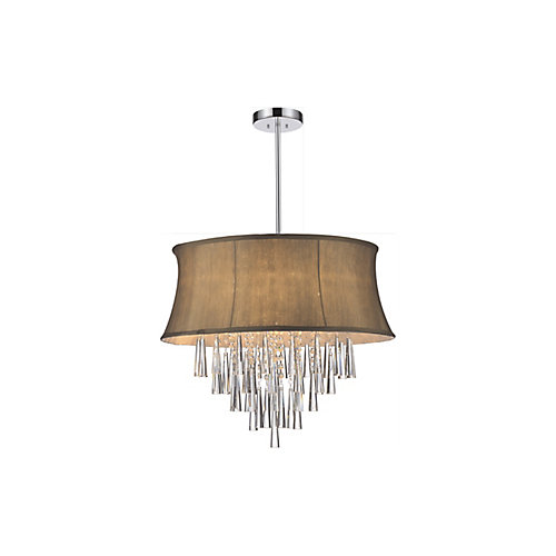 6 Light Pendent With Brown Shade