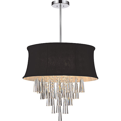 8 Light Pendent With Black Shade