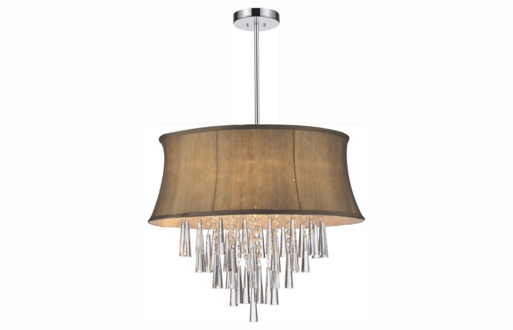 8 Light Pendent With Brown Shade