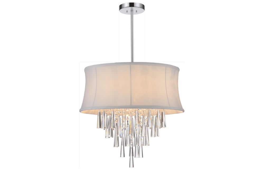8 Light Pendent With Off White Shade