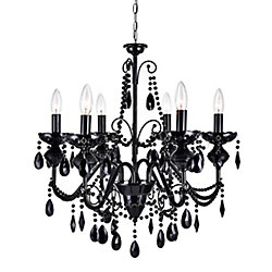 6-Light Black Crystals Chandelier