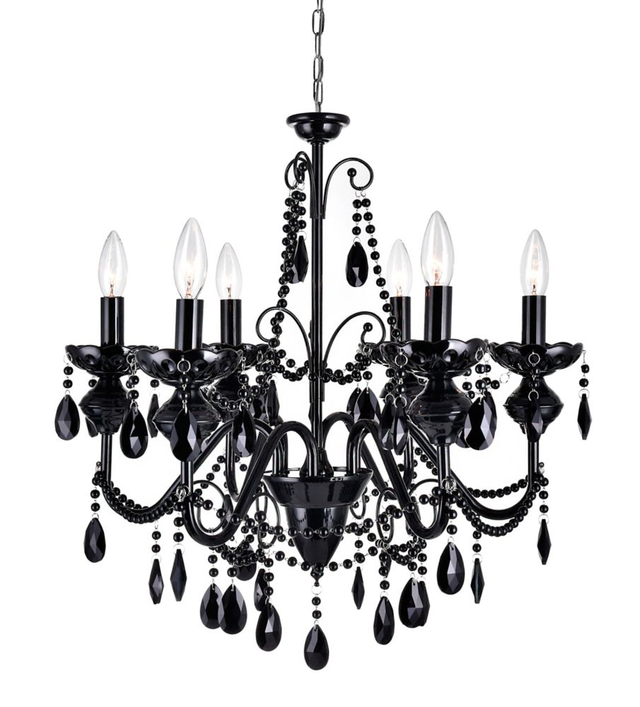 6 Light Chandelier With Black Crystals