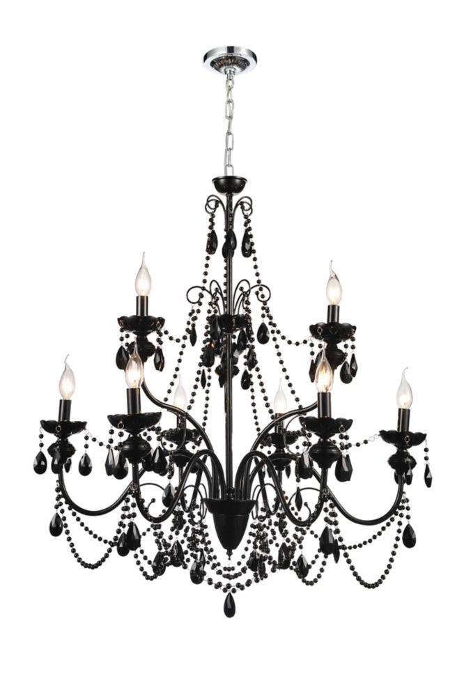 Lustre à 9 lampes orné de cristaux noirs