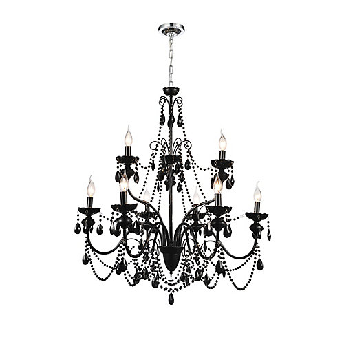 9 Light Chandelier With Black Crystals
