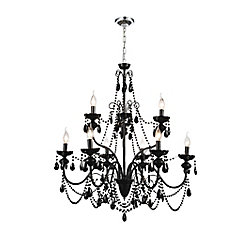 CWI Lighting 9 Light Chandelier With Black Crystals