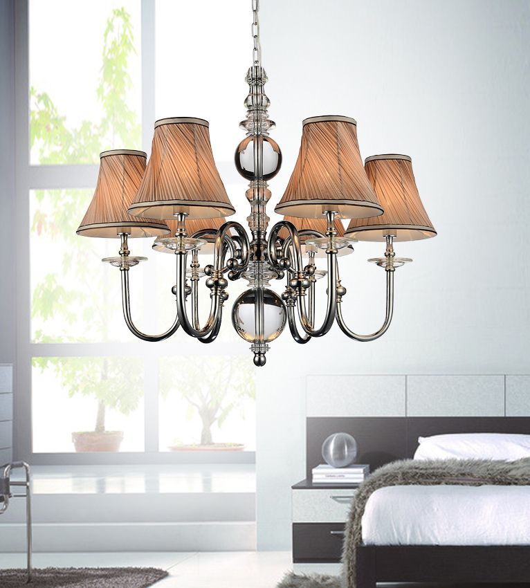 6 Light Chandelier With Beige Shades