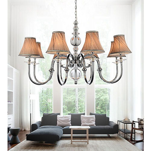 8 Light Chandelier With Beige Shades