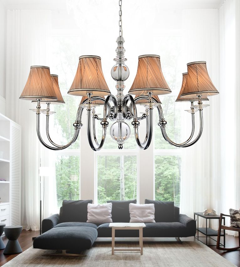 CWI Lighting 8 Light Chandelier With Beige Shades