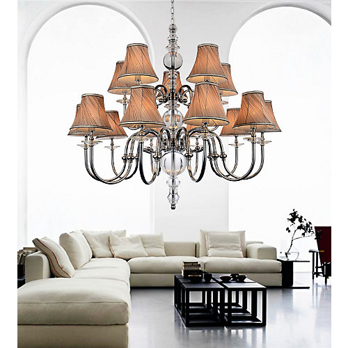 15 Light Chandelier With Beige Shades