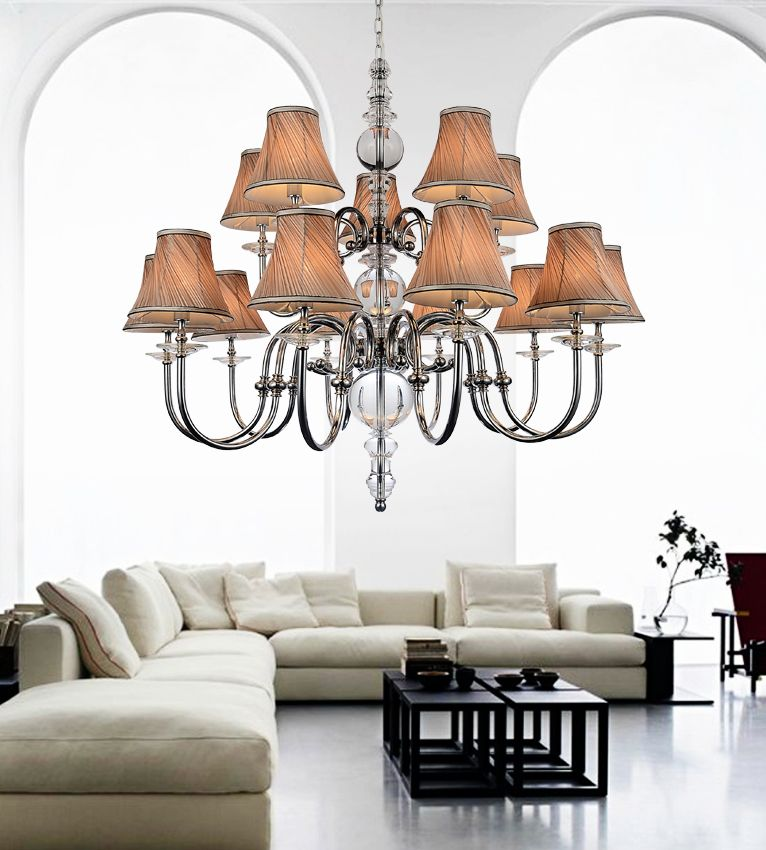 CWI Lighting 15 Light Chandelier With Beige Shades