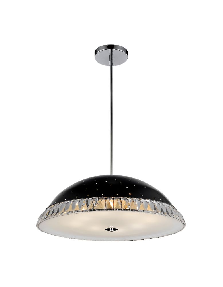 8 Light Pendant With Black Finish