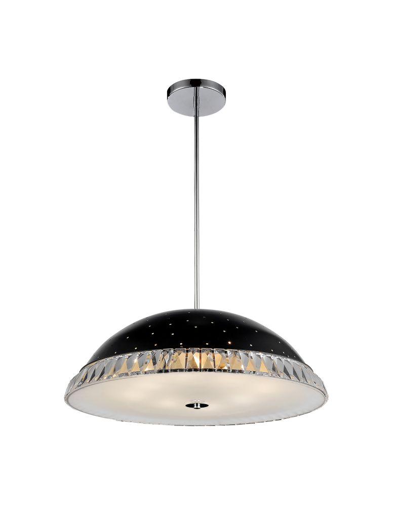 8 Light Pendant With Black Finish
