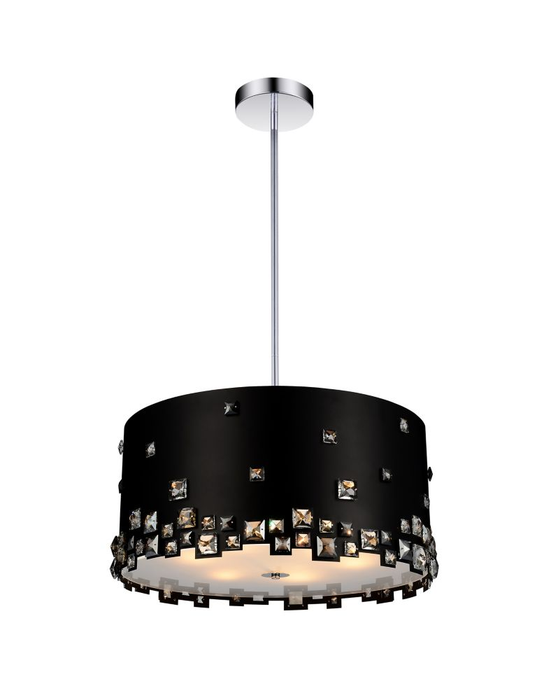 5 Light Chandelier With Black Finish