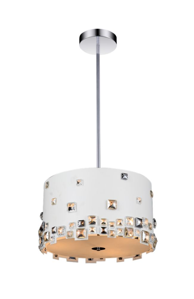 5 Light Chandelier With White Finish