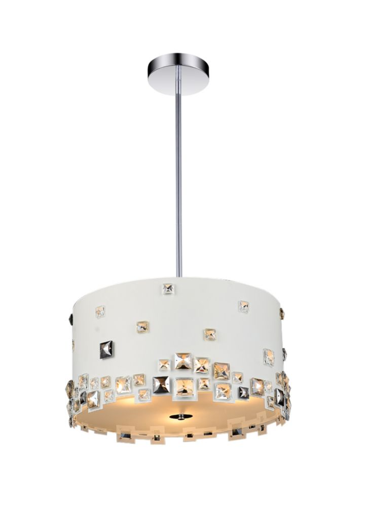 6 Light Chandelier With White Finish