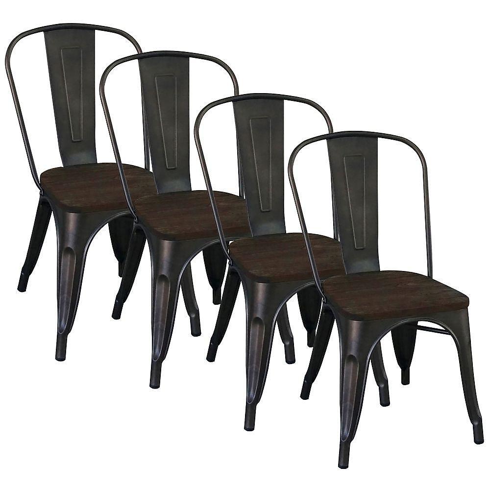 Chaise Parson sans accoudoirs Modus, métal noir, siège bois noir, ens. de 4