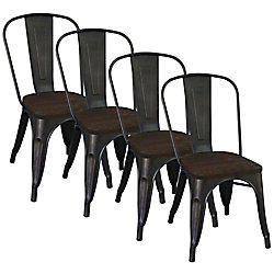 !nspire Chaise Parson sans accoudoirs Modus, métal noir, siège bois noir, ens. de 4