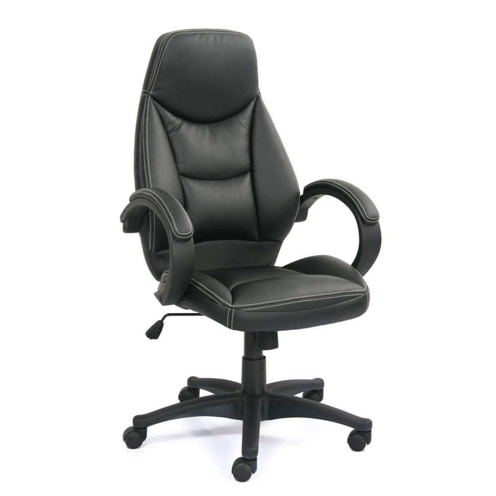 BIFMA Workspace Black Bonded Leather Managerial Office Chair