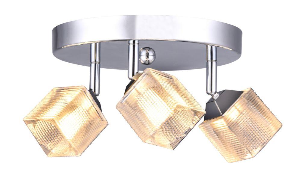 Luminaire directionnel rond à 3ampoules à DEL, fini chrome, avec abat-jour en verre prismatique