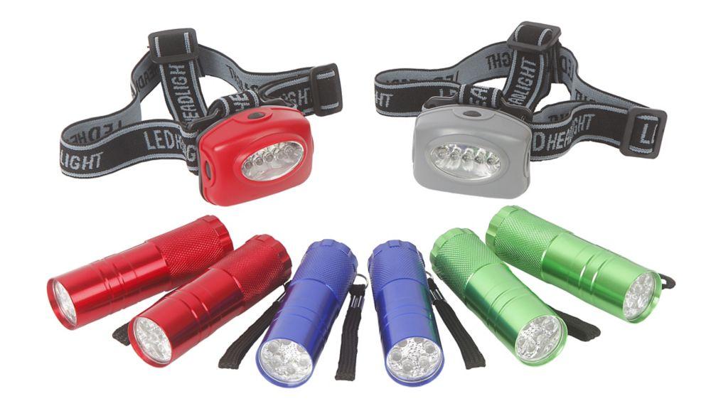 Ensemble de lampes de poche et lampes frontales à DEL de 8 pièces