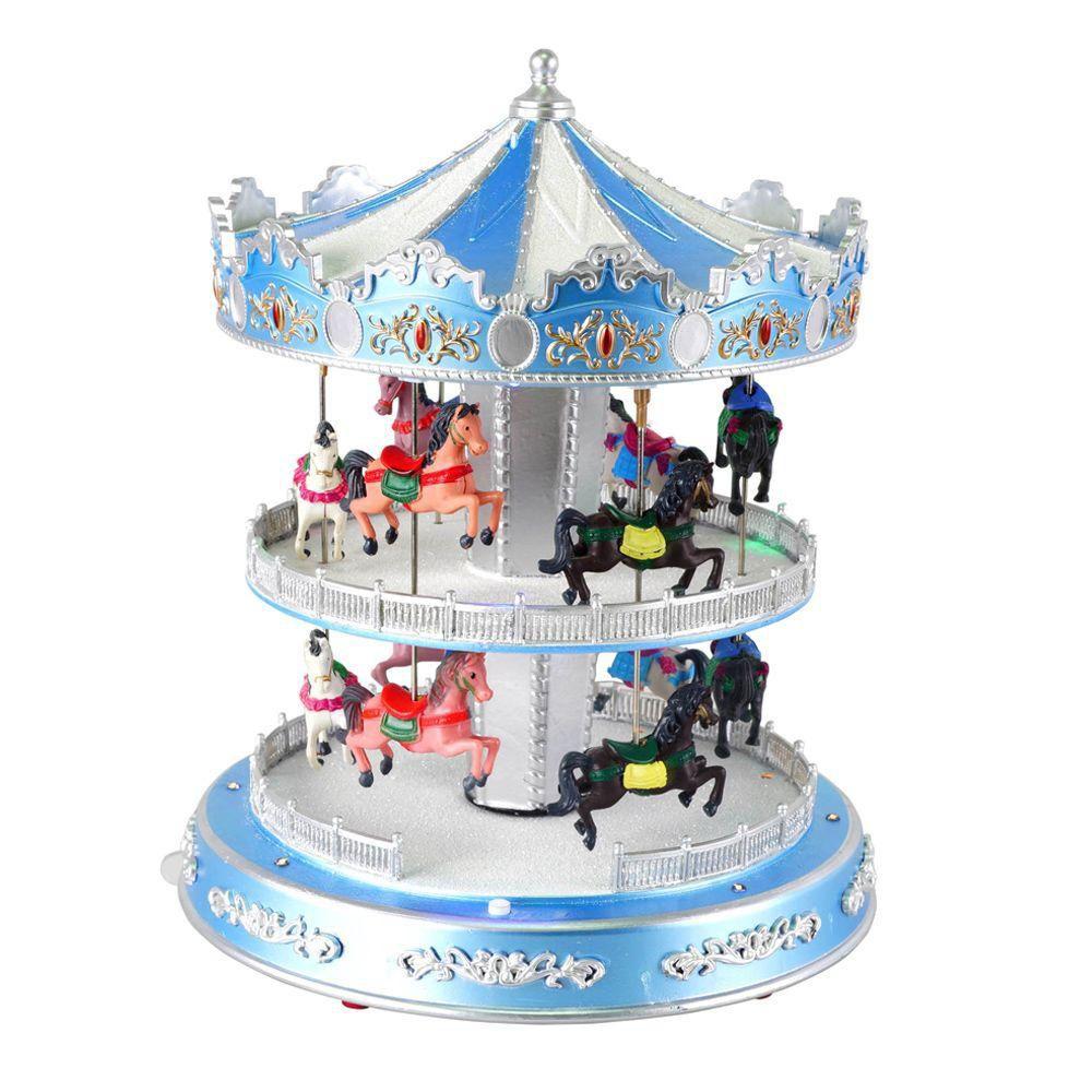 "Animated Turning ""Double-Decker-Carousel"" With Led Illumination And Seasonal Music"