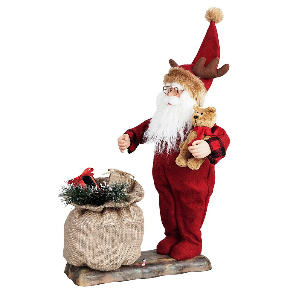 Animated Santa In Long-Johns Holding A Teddy Bear With Led Illumination And Seasonal Music