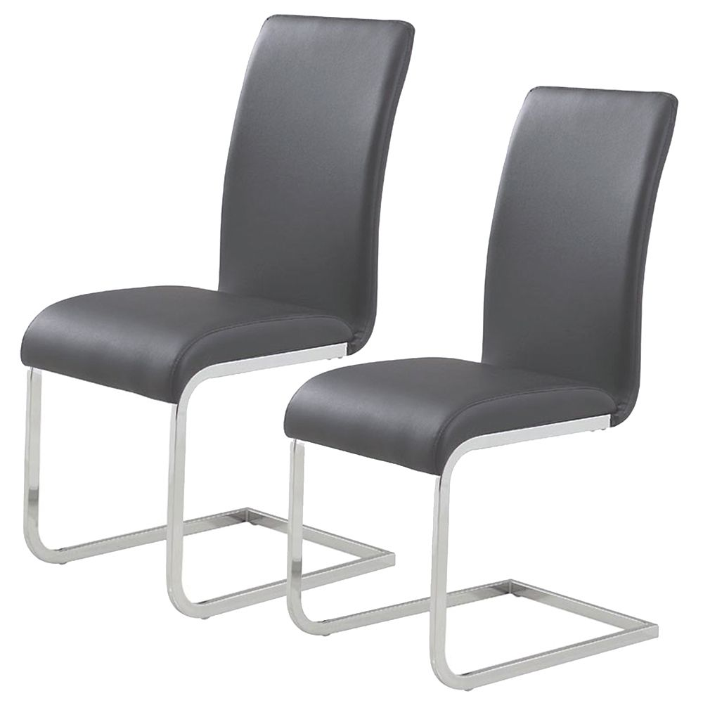 !nspire Maxim Metal Chrome Parson Armless Dining Chair with Black Leather Seat - Set of 2