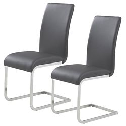 !nspire Maxim Metal Chrome Parson Armless Dining Chair with Black Leather Seat (Set of 2)