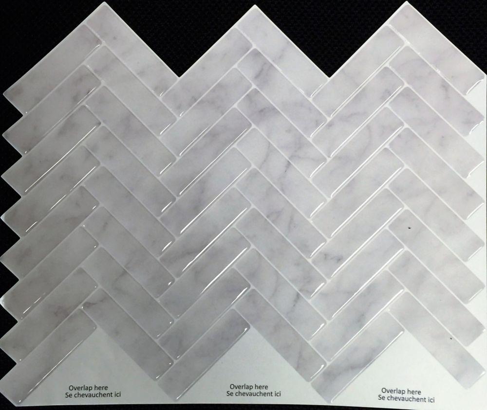 Stick-It Tiles GREY MARBLE HERRINGBONE Peel And Stick 11X9