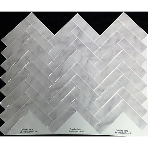 Stick-It Tiles GREY MARBLE HERRINGBONE Peel and Stick 11X9.25 (8-Pack)