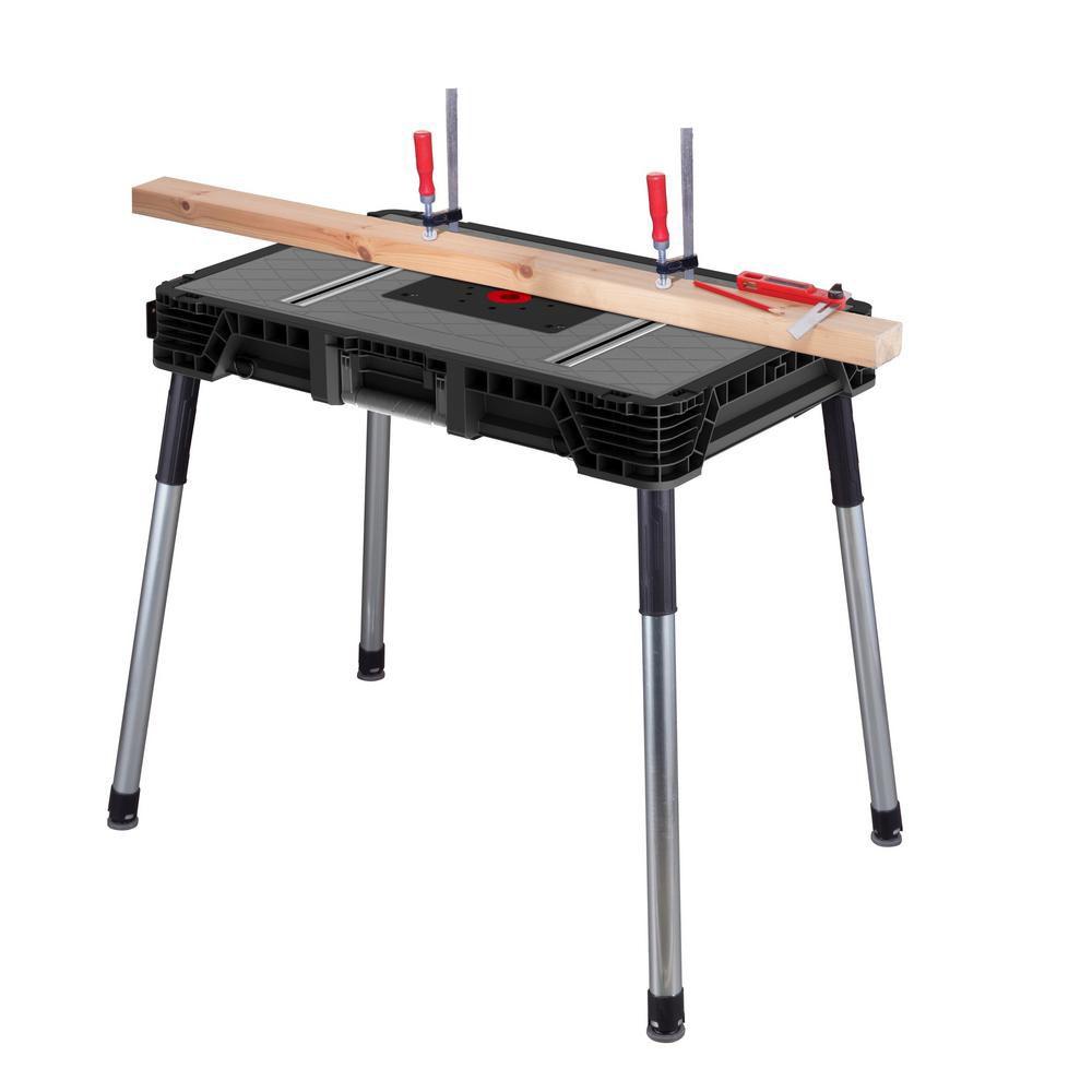 HUSKY 1.8 ft. x 3 ft. Portable Jobsite Workbench in Black