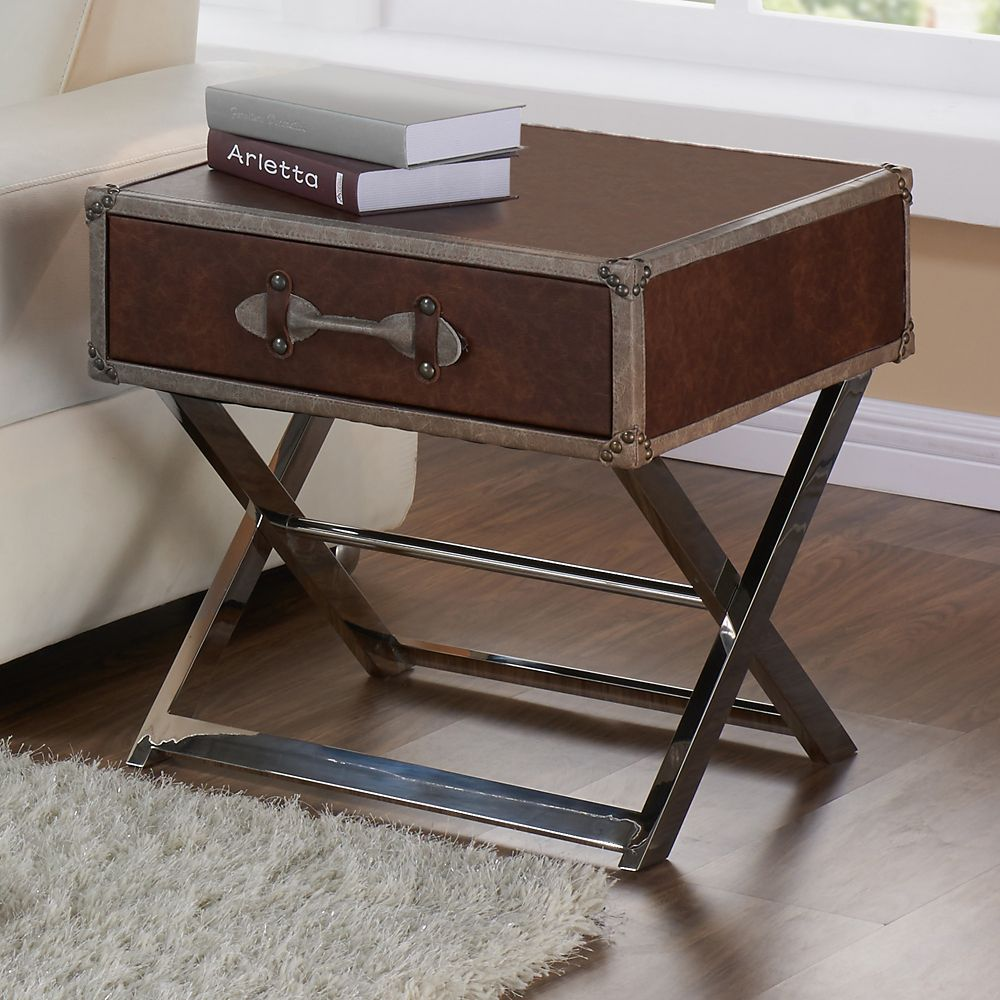 Esquire-1d Accent Table-Brown