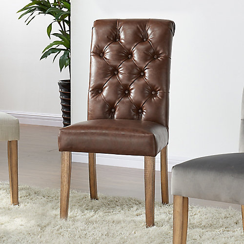Kavan Leather Wood Brown Parson Armless Dining Chair with Brown Faux Leather Seat - (Set of 2)