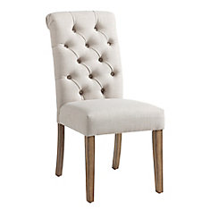 Melia Wood White Parson Armless Dining Chair with White Fabric Seat - Set of 2