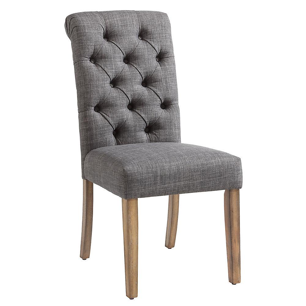Chaise Parson sans accoudoirs Melia, bois gris, siège tissu gris, ens. de 2