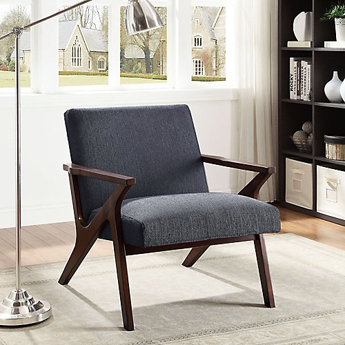 Beso Modern Occasional Fabric Accent Chair in Grey with Solid Pattern