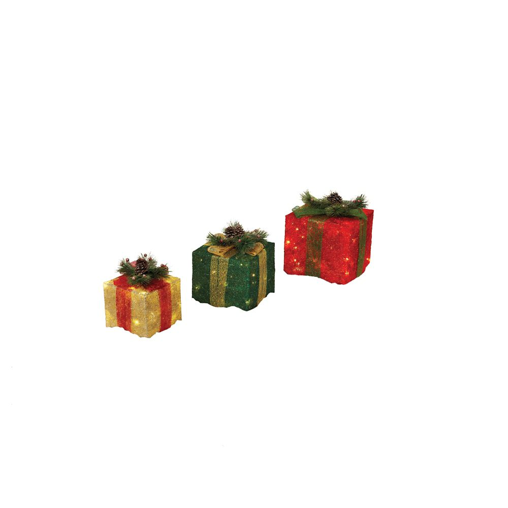 3-Pack LED Tinsel Gift Boxes