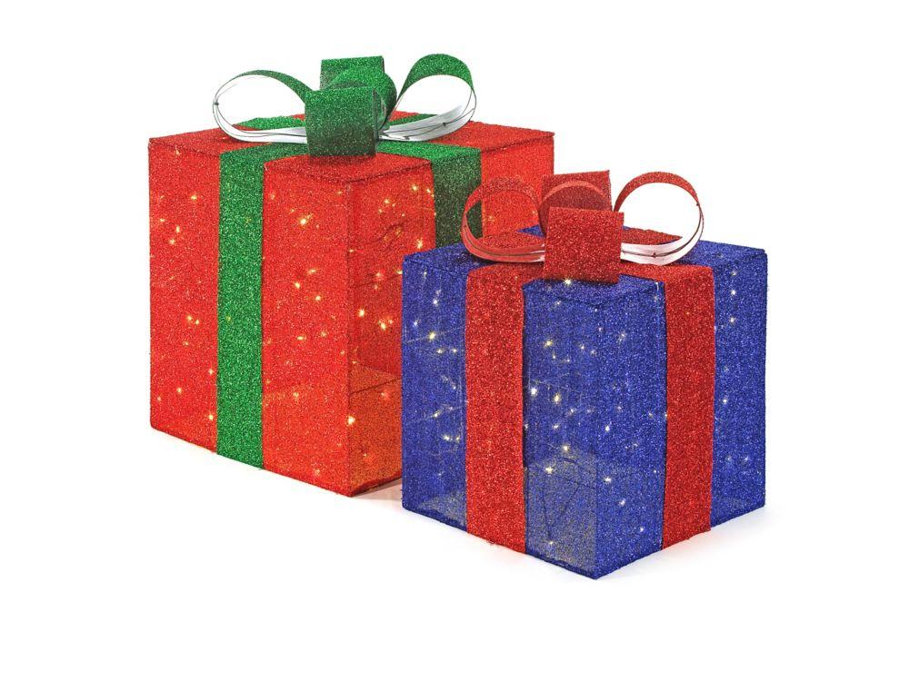 2   boîtes-cadeaux scintillantes  á DEL
