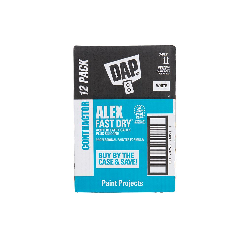 DAP Alex Fast Dry Acrylic Latex Caulk with Silicone - White - Contractor Pack (12-300ml Cartridges)