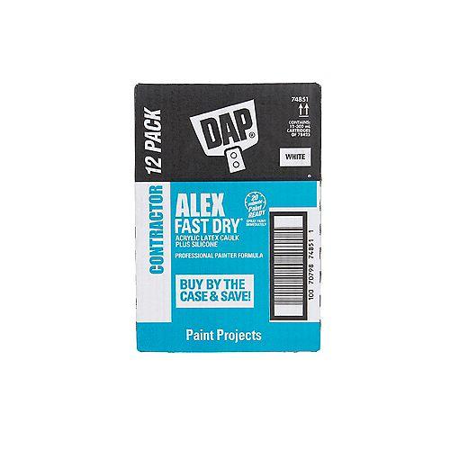 DAP 300mL Alex Fast Dry Acrylic Latex Caulk Cartridge with Silicone - White (12-Pack)