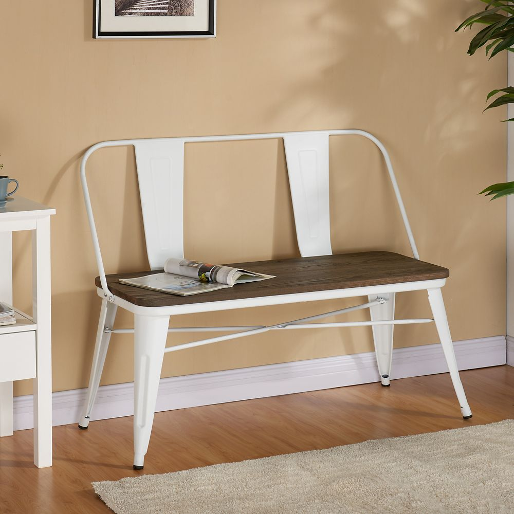!nspire Modus 43.5-inch x 33.5-inch x 17.25-inch Metal Frame Bench in White