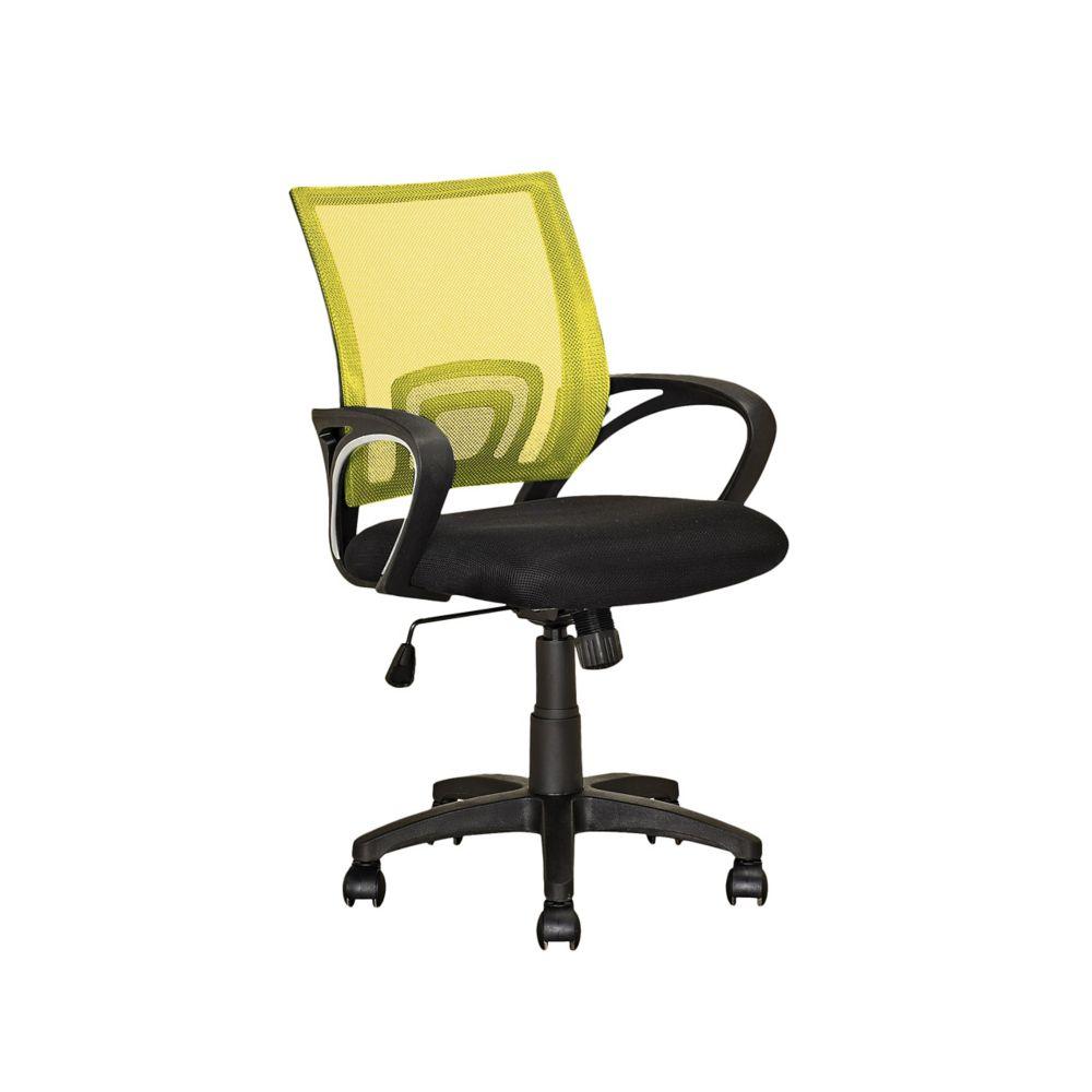 Fauteuil de bureau avec dossier jaune en mailles