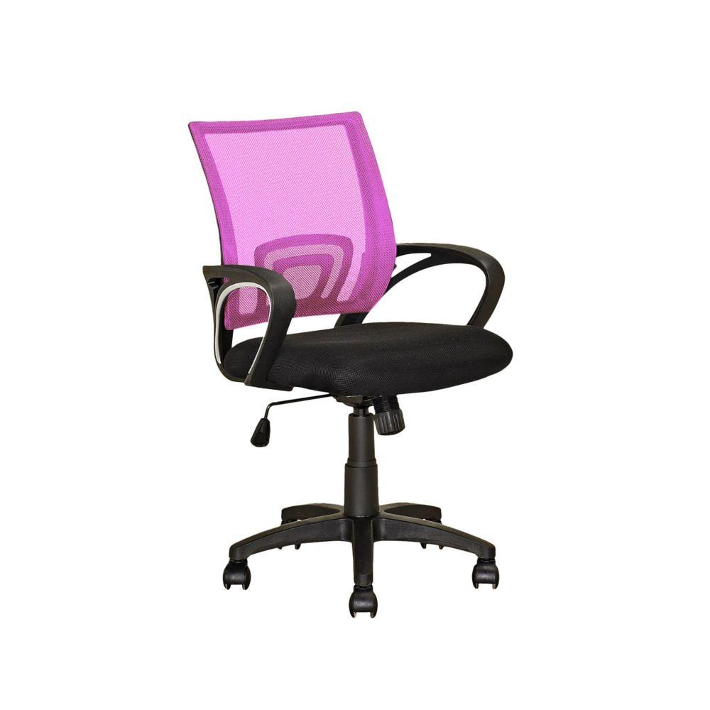 Fauteuil de bureau avec dossier rose en mailles