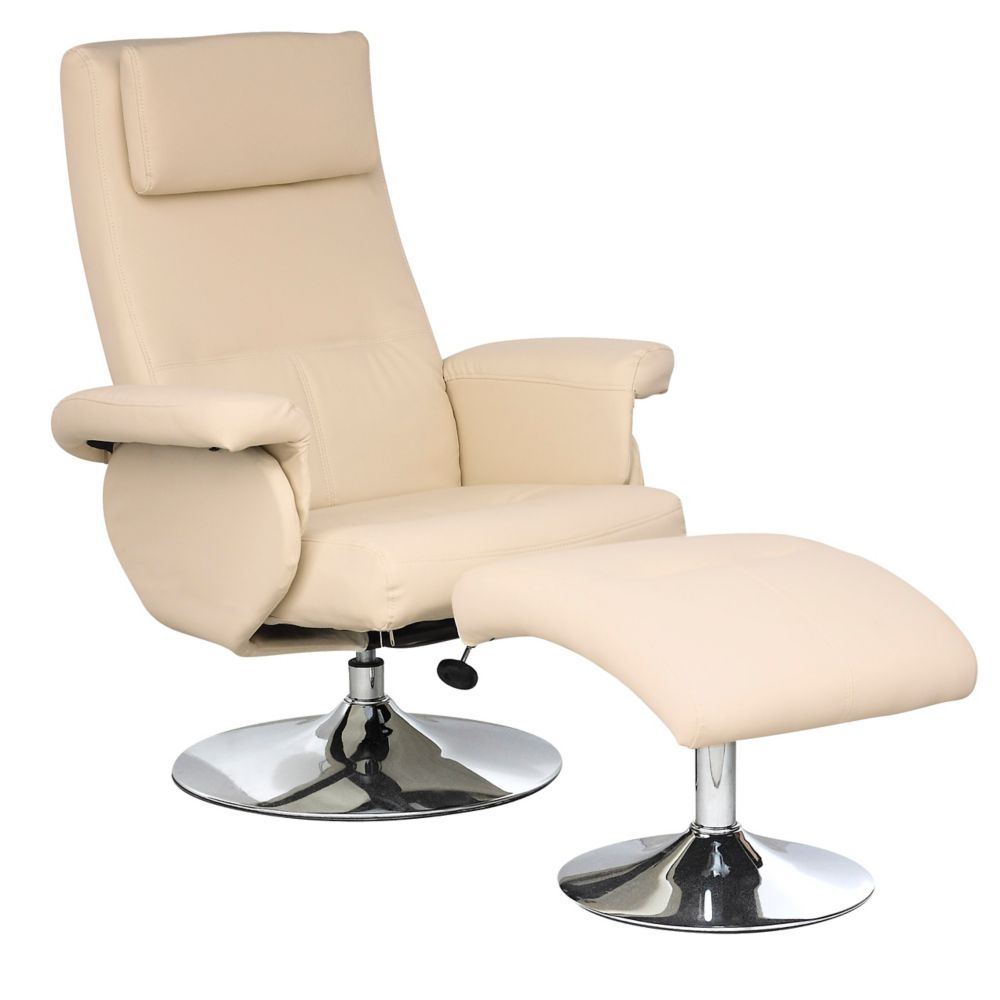 Yalaha Ivory Cream Leatherette Reclining Lounge Chair With Curved Ottoman