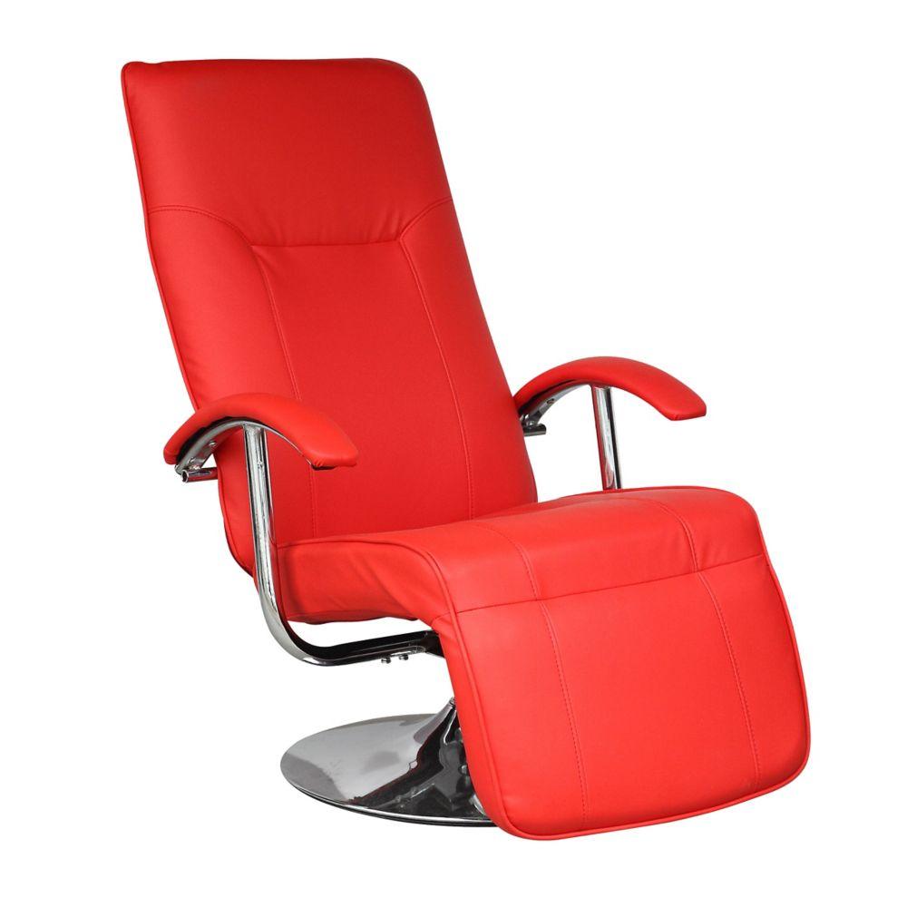 Yalaha Warm Red Leatherette Reclining Lounge Chair