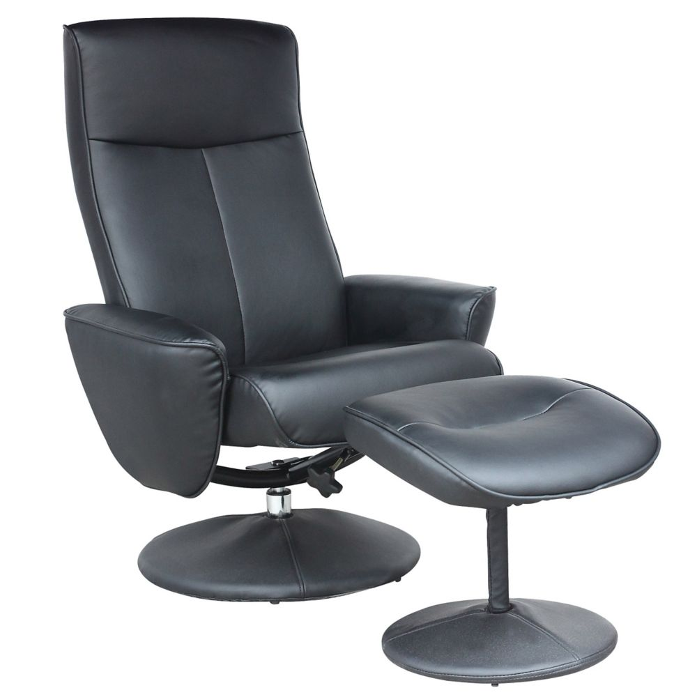 Yalaha Rich Black Leatherette Reclining Lounge Chair With Ottoman