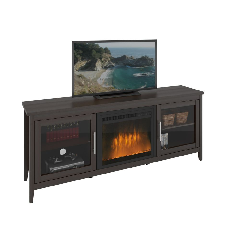Jackson Espresso Fireplace TV Bench, For Tvs Up To 80 Inch