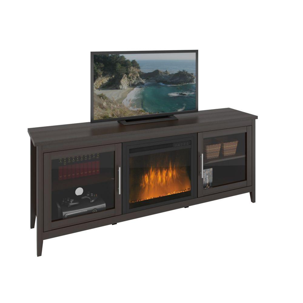 Meuble pour téléviseur Jackson couleur espresso avec foyer